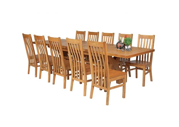 Country Oak 280cm Extending Cross Leg Square Table and 10 Chelsea Timber Seat Chairs