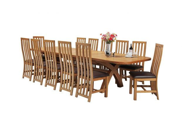 Country Oak 340cm Extending Cross Leg Oval Table and 12 Dorchester Brown Leather Chairs