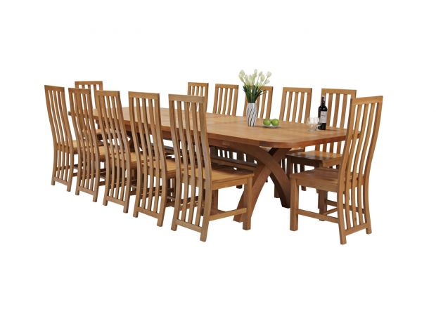 Country Oak 340cm Extending Cross Leg Oval Table and 12 Dorchester Timber Seat Chairs