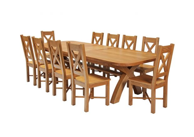 Country Oak 340cm Extending Cross Leg Oval Table and 10 Grasmere Timber Seat Chairs