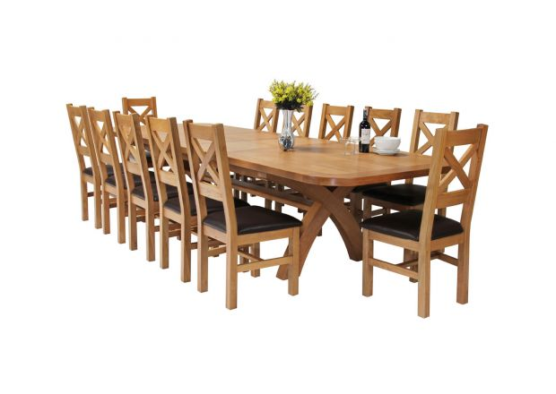 Country Oak 340cm Extending Cross Leg Oval Table and 12 Windermere Brown Leather Chairs
