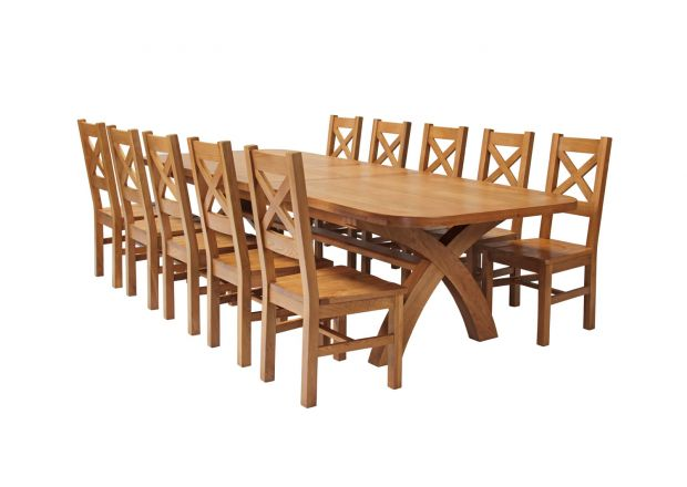 Country Oak 340cm Extending Cross Leg Oval Table and 10 Windermere Timber Seat Chairs