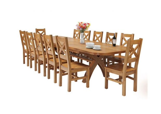 Country Oak 340cm Extending Cross Leg Oval Table and 12 Windermere Timber Seat Chairs