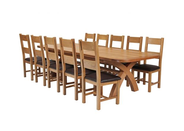 Country Oak 340cm Extending Cross Leg Oval Table and 10 Chester Brown Leather Chairs