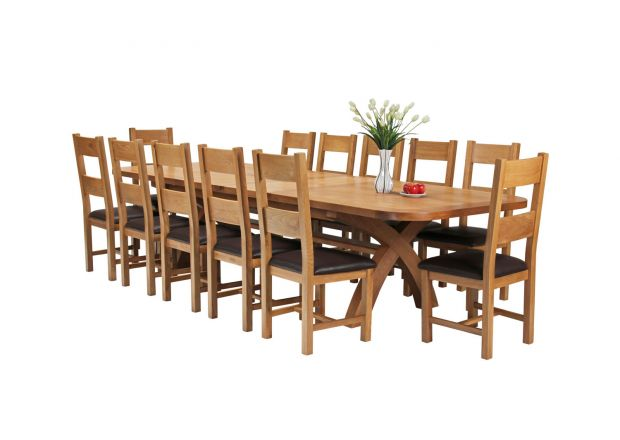 Country Oak 340cm Extending Cross Leg Oval Table and 12 Chester Brown Leather Chairs