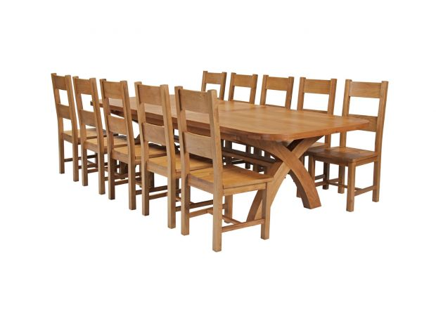 Country Oak 340cm Extending Cross Leg Oval Table and 10 Chester Timber Seat Chairs