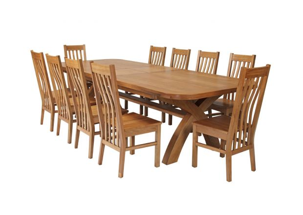 Country Oak 340cm Extending Cross Leg Oval Table and 10 Chelsea Timber Seat Chairs