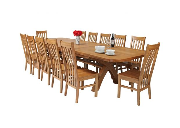 Country Oak 340cm Extending Cross Leg Oval Table and 12 Chelsea Timber Seat Chairs