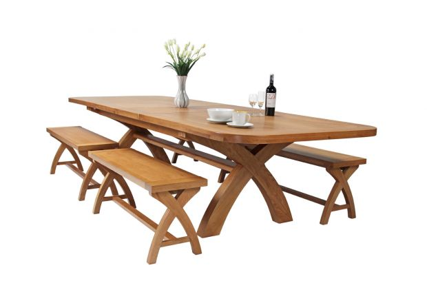 Country Oak 340cm Extending Cross Leg Oval Table 4 x 120cm Cross Leg Bench Set