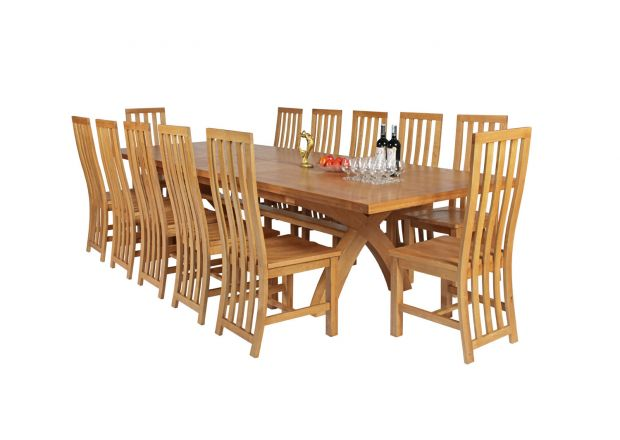 Country Oak 340cm Extending Cross Leg Square Table and 12 Dorchester Timber Seat Chairs