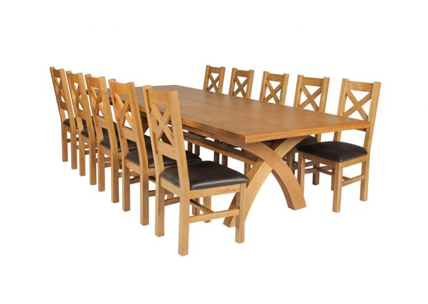 Country Oak 340cm Extending Cross Leg Square Table and 10 Windermere Brown Leather Chairs