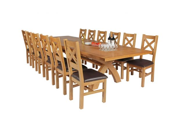 Country Oak 340cm Extending Cross Leg Square Table and 12 Windermere Brown Leather Chairs