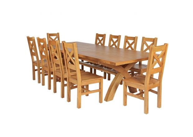 Country Oak 340cm Extending Cross Leg Square Table and 10 Windermere Timber Seat Chairs