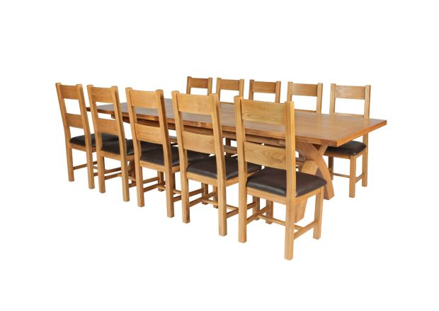 Country Oak 340cm Extending Cross Leg Square Table and 10 Chester Brown Leather Chairs