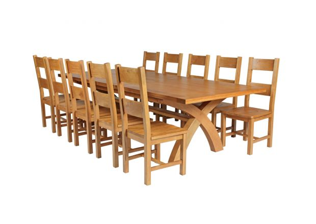 Country Oak 340cm Extending Cross Leg Square Table and 10 Chester Timber Seat Chairs