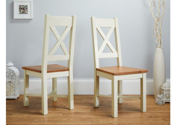 Grasmere Cross Back Cream Painted Chair With Solid Oak Seat  - PRICE CRUNCHED
