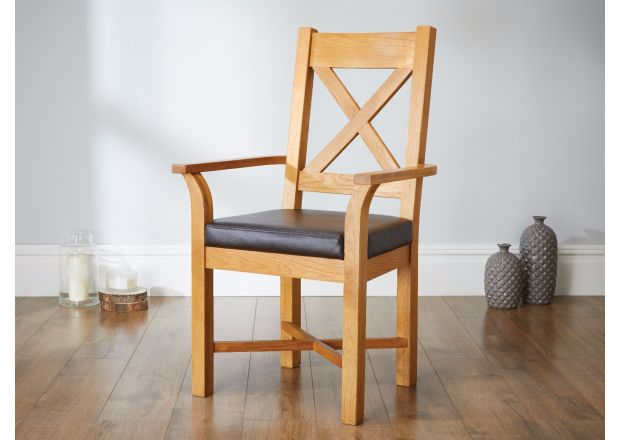 Grasmere Oak Carver Dining Chair With Brown Leather Seat - SUMMER SALE