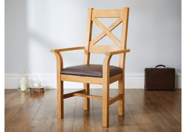 Windermere Cross Back Oak Carver Dining Chair With Brown Leather Seat - SUMMER SALE