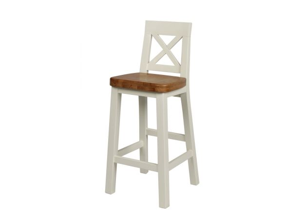 Billy Cross Back Grey Painted Bar Stool With Solid Oak Seat - SUMMER SALE