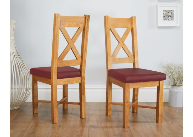 Grasmere Oak Chair with Red Leather Seat