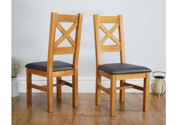 Windermere Cross Back Oak Chair With Black Leather Seat - SUMMER SALE