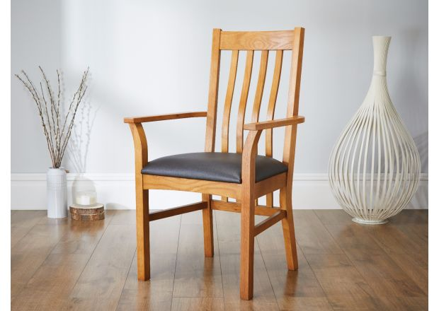 Chelsea Solid Oak Brown Leather Carver Dining Chair - SUMMER SALE