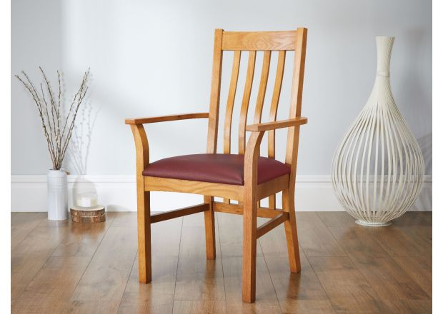 Chelsea Solid Oak Red Leather Carver Dining Chair - SUMMER SALE
