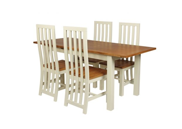 Country Oak 180cm Cream Painted Extending Dining Table & 4 Dorchester Cream Painted Chairs - SUMMER SALE
