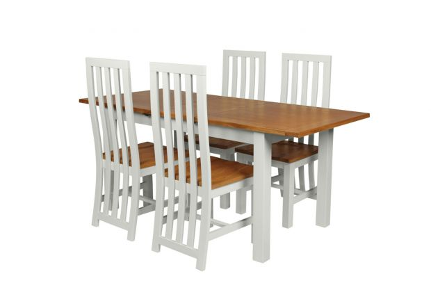 Country Oak 180cm Grey Painted Extending Dining Table and 4 Dorchester Grey Painted Chairs