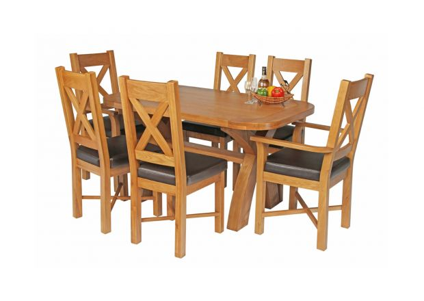 Country Oak 140cm X Leg Oval Table 4 Grasmere Brown Leather Chairs and 2 Matching Carvers