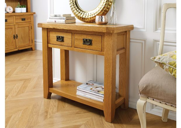 Country Oak 2 Drawer Console Table - SUMMER SALE
