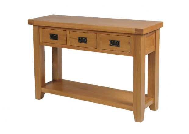 Country Oak 3 Drawer Console Table - SUMMER SALE