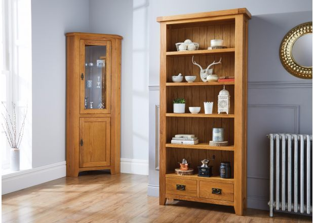 Country Oak Tall Bookcase with Drawers - SUMMER SALE