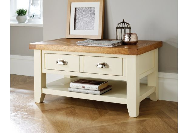 Country Cottage Cream Painted Oak Coffee Table With Drawers - SUMMER SALE