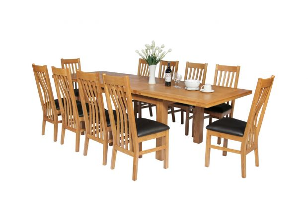 Country Oak 280cm Standard Leg Extending Table 10 Chelsea Brown Leather Chairs Set