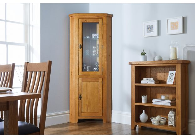 Country Oak Tall Glass Corner Display Cabinet
