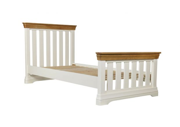 Farmhouse Country Oak Cream Painted 3 Foot Single Bed Slatted Design