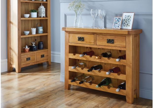 Country Oak 85cm Wine Rack With Drawer
