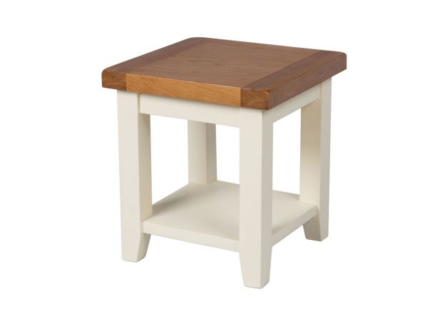 Country Cottage Cream Painted Oak Lamp Table With Shelf - SUMMER SALE