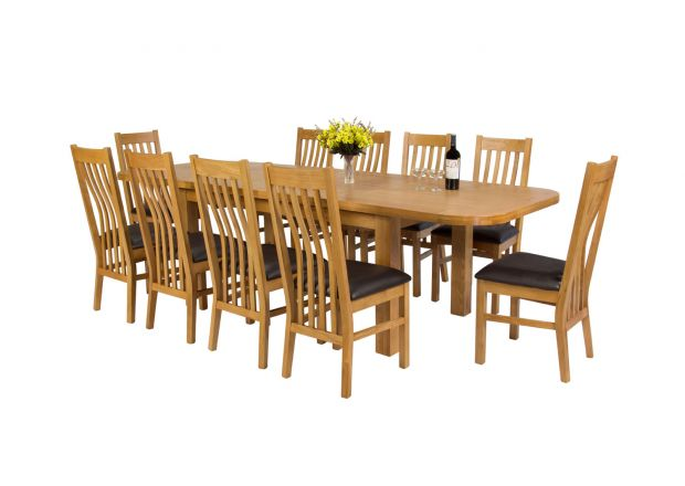Country Oak 280cm Extending Oak Oval Table and 10 Chelsea Brown Leather Chairs