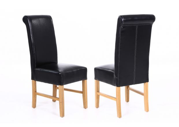 Emperor Black Leather Scroll Back Dining Chairs with Oak Legs