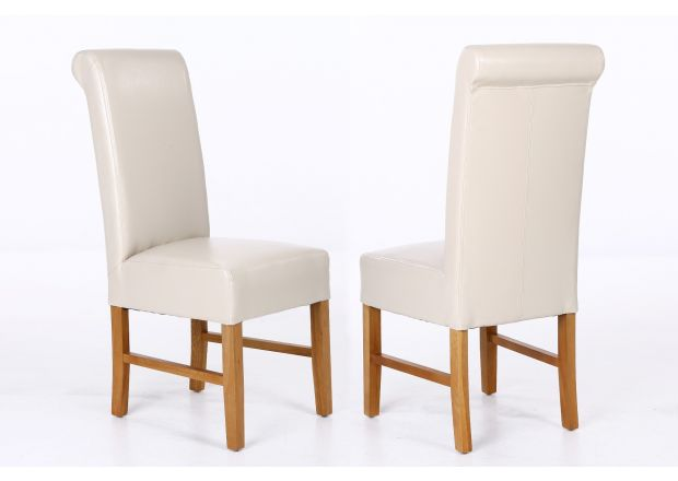 Emperor Cream Leather Scroll Back Dining Chairs with Solid Oak Legs - SUMMER SALE