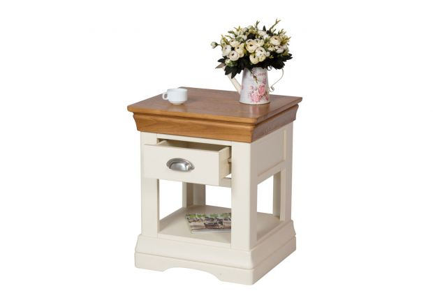 Farmhouse Country Cream Painted Lamp Table