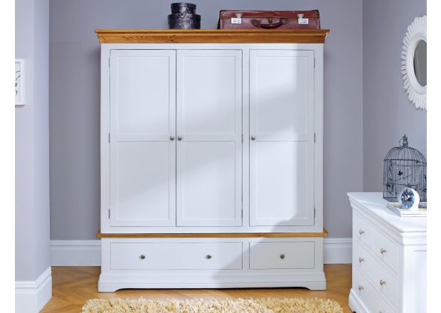 Farmhouse White Painted 3 Door Triple Wardrobe with Drawers