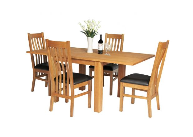 Lichfield 90cm to 180cm Flip Top Extending Table 4 Chelsea Brown Leather Chairs Set