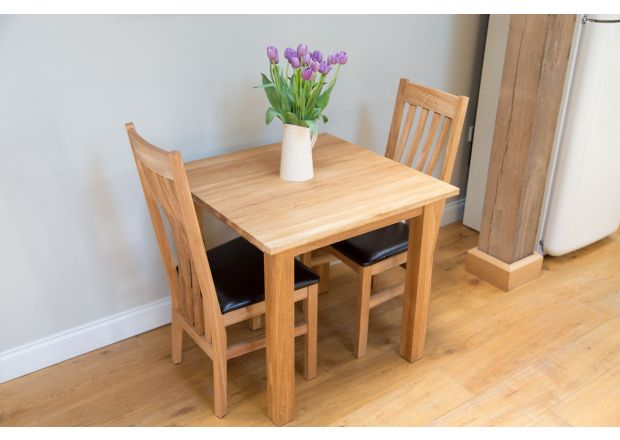 Minsk 80cm Table and 2 Winchester Black Leather Oak Chairs - SUMMER SALE