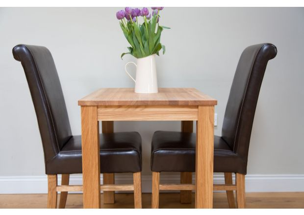 Minsk 60cm Table and 2 Emperor Brown Leather Chairs - SUMMER SALE