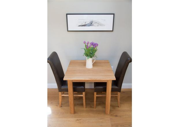 Minsk 80cm Table and 2 Emperor Brown Leather Chairs