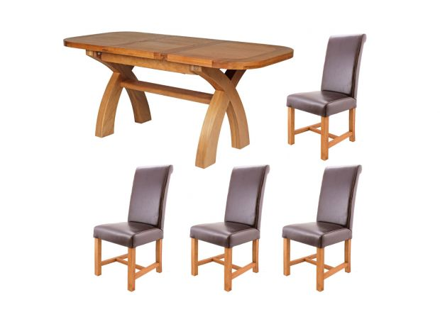 Country Oak 130cm to 180cm X Leg Oval and 4 Titan Brown Chairs