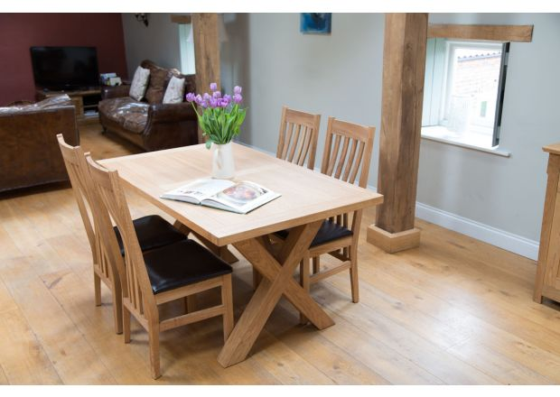 Provence 150cm Oak Table and 4 Winchester Black Leather Chairs - SUMMER SALE